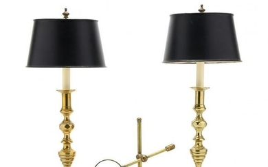 Pair of Brass Candlestick Lamps and Magnifying Glass