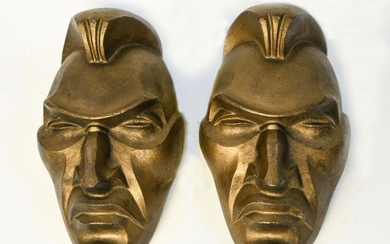 Pair of Cast Iron Indian Theatrical Masks