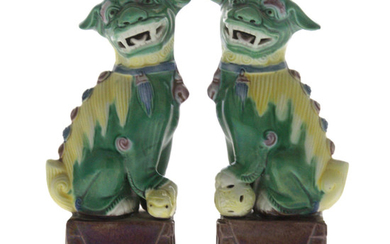 Pair of Chinese Porcelain Foo Dogs Figures.