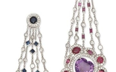"Pair of "" Fleur "" earrings in white gold, composed of alternating chains of brilliant-cut diamonds and calibrated sapphires, retaining the floral motifs set for one with a peridot in a ring of brilliant-cut diamonds and facetted sapphires and for the..."
