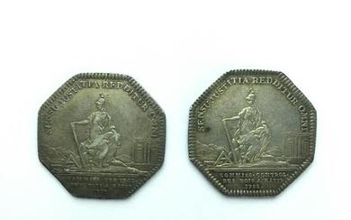 Pair of French silver tokens, year 1732.
