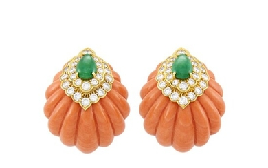 Pair of Gold, Carved Coral, Jade and Diamond Earclips