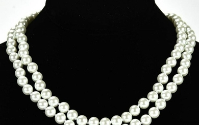 Pair of Hand Knotted Pearl Necklaces Strands