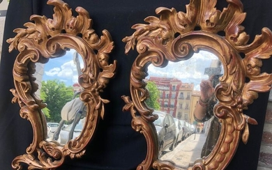 Pair of Mirrors - Gilded wood and stucco - Late 19th century