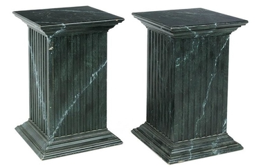 Pair of Neoclassical-Style Faux Marbre Pedestals