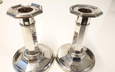 """Pair of silver pillar candlesticks, filled and 4.5"""" tall, si..."""