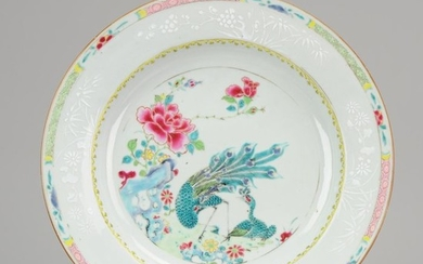 Plate - Porcelain - 29CM Antique Chinese Large Plate Peacocks Bianco Sopra Bianco - China - 18th century
