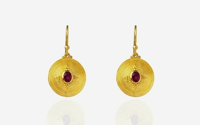 Pure Gold, Wire Wrapped Oval Burma Ruby Earrings