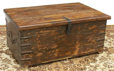 RUSTIC IRON-BOUND WOOD TRUNK