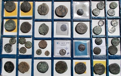 Roman Republic - Lot comprising 39 AE/AR coins (various denominations), 3rd-1st century BC.