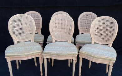 SET 6 LOUIS XVI STYLE PAINT DECORATED CANED DINING