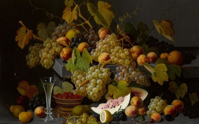 SEVERIN ROESEN | STILL LIFE WITH FRUIT AND A GLASS OF CHAMPAGNE