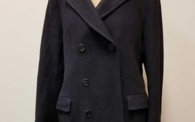 Savile Row Wool Full Length Trench Coat Black Size L