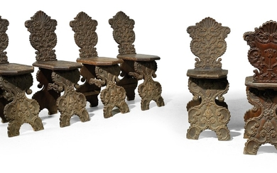 A Rare Set of 6 Plank Chairs,