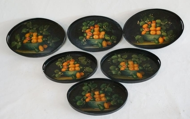 Set Antique Fruit Painted Oval Serving Tea Trays
