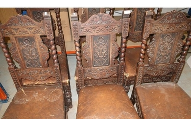 Set of six carved oak dining chairs with upholstered seats a...