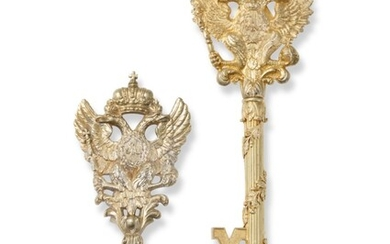 TWO SILVER-GILT AND GILT-METAL CHAMBERLAIN'S KEYS, RUSSIA, PERIOD OF ALEXANDER II (1855-1881)