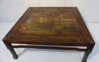 Coromandel lacquered coffee table with bird decoration. Chinese work. Period:...