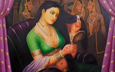 The brown, sparkling eyes keep a steady gaze over the mirror, stupified by their own beauty, filled with kohl and green eyeliner that enhances their beauty. The red-colored lips have twitched into a smile and the long, elegantly straight nose sets over...