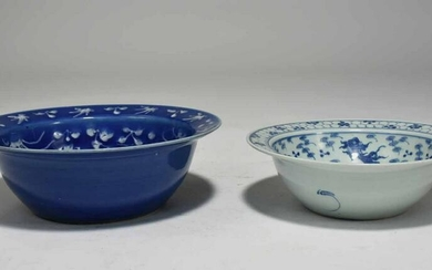 Two Chinese Porcelain Blue and White Basins