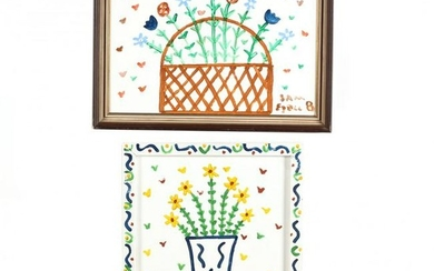 Two Folk Art Paintings by Sam Ezell (NC)