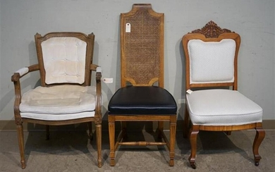 Two Fruitwood Upholstered Side Chairs and Armchair