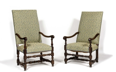 """Two Louis XIII style armchairs called """"os de mouton"""" (sheep bone) with blue and beige damask upholstery. 19th century Height 103 cm, width 128 cm, depth 90 cm"""