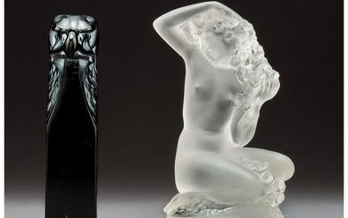 Two R. Lalique Clear and Frosted Glass Table Articles (circa 1911, circa 1942)