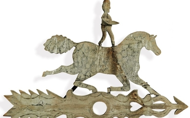 VERY FINE AND RARE AMERICAN CARVED PINE AND SHEET-IRON ACROBAT AND DAPPLE PAINTED HORSE WEATHERVANE, LATE 19TH CENTURY