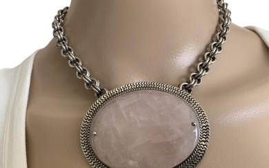 VINTAGE HEAVY STERLING AND ROSE QUARTZ NECKLACE