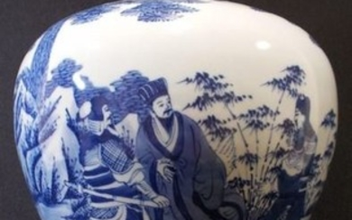Vase 'meiping' - Blue and white - Porcelain - Figures in a landscape - Kangxi mark but modern! - China - Late 20th century