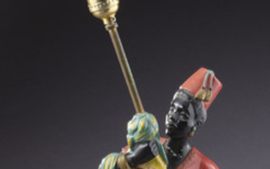 Venetian polychrome & carved wood table lamp,