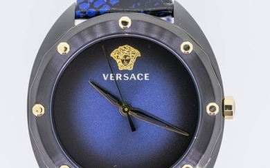 Versace - Shadov Watch Blue Snakeskin Pattern leather strap Swiss Made - VEBM00418 - Women - Brand New