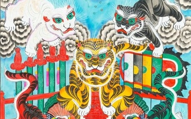 Vietnamese school, ink and colour on paper, 19/20th C.: 'A pair of works with five tigers'