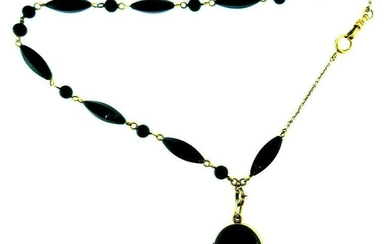 Vintage 14k Yellow Gold Onyx Beaded Necklace Locket