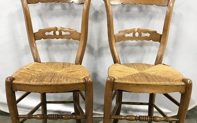 Vintage Carved Wooden Rush Seat Side Chairs
