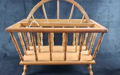 Vintage Wood Magazine Rack on Four Legs