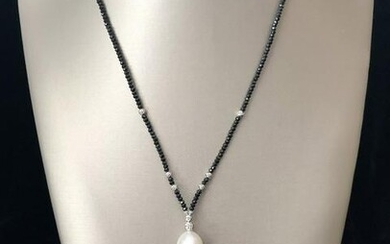 White and Gold South Sea and Grey Tahitian Pearl Lariat