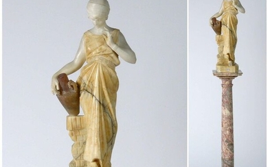 """White and yellow marble and carved alabaster """"Water carrier"""" resting on a pink marble column. Anonymous. Circa 1920. (* and ** one-handed). H.(sculpture):+/-60cm. H.(column):+/-101,5cm."""