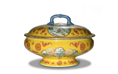 Yellow Ground Famille Rose Covered Bowl, 19th Century
