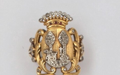 Yellow gold and platinum ring, adorned with a...