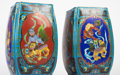 Two vases / cloisonné vases, copper, China, 19th century (2)