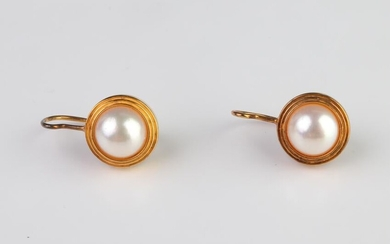 10K Yellow Gold Mabe Pearl Drop Earrings, Vintage