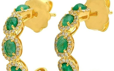1.74 Carat Emerald 14 Karat Gold Diamond Hoop Earrings