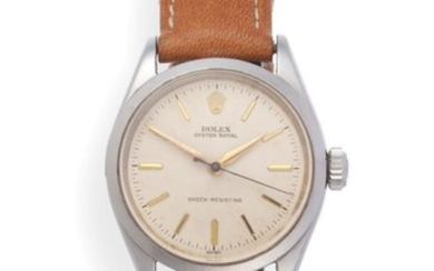 A Stainless Steel Centre Seconds Wristwatch, signed Rolex, Oyster, shock-resisting,...