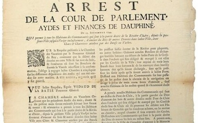 1744. DOUPHINED. (Fear of plague). Arrest of the Court of Parliament, Aydes et Finances of Dauphiné of 23 Sept 1744. Which allows all the Inhabitants of the Communities which are on the right side of the river of Isère, from the present town to Vorêpe...