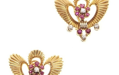 18kt yellow gold, diamond and ruby earrings