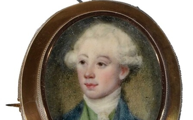 18th Century British School - a miniature bust portrait of a young man