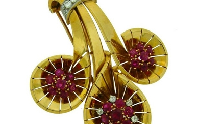 1942 CARTIER RUBY DIAMOND YELLOW GOLD CLIP PIN BROOCH