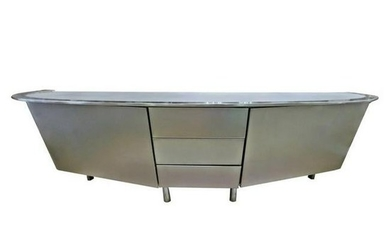 1980s Contemporary Modern Italian Glass Top Console